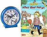Kinderwecker Ohne Ticken Pferde mit Buch Conni Alles über Ponys - 2121/5 BUBS