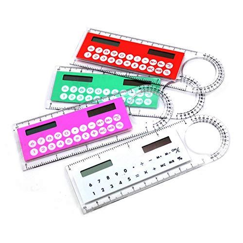 Tedlku Zakrekenmachine, multifunctionele mini-rekenmachine, 10 cm, ultradunne liniaal, voor school en kantoorbenodigdheden, 8 kleuren in rekenmachine, voor computer en kantoor groen