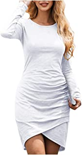 Big Sale BBesty Women Winter O Neck Long Sleeve Knitted Dress Evening Party Dress,Travel,Work,Casual