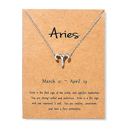 Colgante Horoscopo Collar Signos Del Zodiaco Cadena Mujer Gargantilla Joyas Bisutería Astrológicos Aleación Collares Amor Fina Cumpleaños Valentín Regalos,Aries