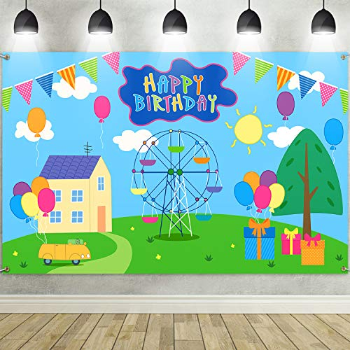 Telón de Fondo de Fiesta de Feliz Cumpleaños, Fondo de Fotografía de Tela Extra Grande de Dibujos Animados Casa Árboles Calle Cielo para Fiesta de Cumpleaños Niños Bautizo, 72,8 x 43,3 Pulgadas