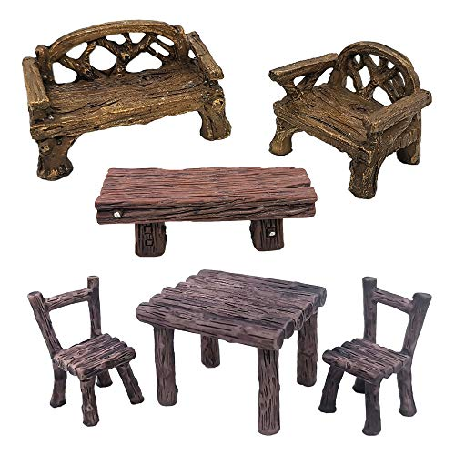 Trasfit 6 Pieces Miniature Table and Chairs Set, Fairy Garden Furniture Bench Ornaments Kit for Dollhouse Accessories, Home Micro Landscape Decoration (Style B)