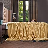 THXSILK 100% Silk Throw Blanket for Bed/Couch Top Grade Long-Strand Silk Quilted Bedspread Soft & Cozy (Metallic Gold, 53x70 inch)