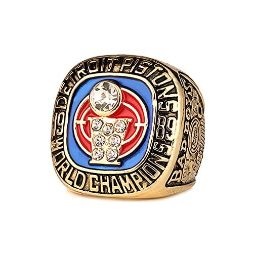 TYTY NBA Basketball 1989 Detroit Pistons Championship Ring Anillos de Campeonato, Campeones réplica para Aficionados del Recuerdo de la colección del Regalo,Without Box,10