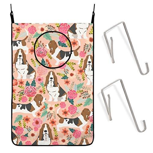 Cesta colgante para la colada, diseño de perro basset hound melocotón claro flores pastel estilo vintage flores pintadas flores perro sucia bolsa grande de almacenamiento plegable cesta para colgar, cesta de lavandería para baño universitario, clóset, detrás de las puertas