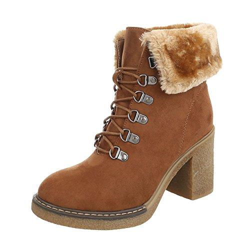 Ital-Design Schnürstiefeletten Damen-Schuhe Schnürstiefeletten Pump Schnürer Schnürsenkel Stiefeletten Camel, Gr 40, Hj88-50-
