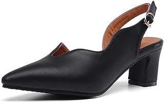 BalaMasa Womens ASL06531 Pu Block Heels