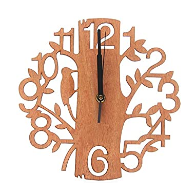 LOHAS Home 9 Inch Tree Shaped Wall Clock, 23cm Wood Decorations Housewarming Clocks, Non Ticking Silent Clock for Office Living Room Bedroom Dining Room