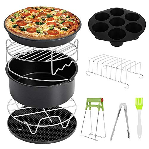 An image of the 10PCS 8 inch General Air Fryer Accessories, with Non-Stick Cake Barrel Pizza Pan and Cupcake Pan Fit All 3.2QT~5.8QT Air Fryer (8 Inch Set)