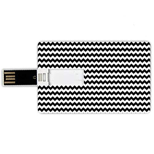 32GB Forma de tarjeta de crédito de unidades flash USB Cheurón Estilo de tarjeta de banco de Memory Stick Zig Zags en blanco y negro Sharp Arrow Inspired Classic Retro Tile Monochrome,Black White Plum