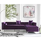 Giovanni Velvet Right Facing Chaise Sectional w/Storage, Grey 115'