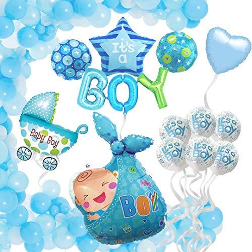 Baby Shower Decoración Globos de Helio - Decoraciones Fiesta de Bienvenida de Bebé Niño - Pack de 44 Globos Baby Shower Azul - Fiesta recién nacido - Regalo bebé - Nacimiento - Bautizo