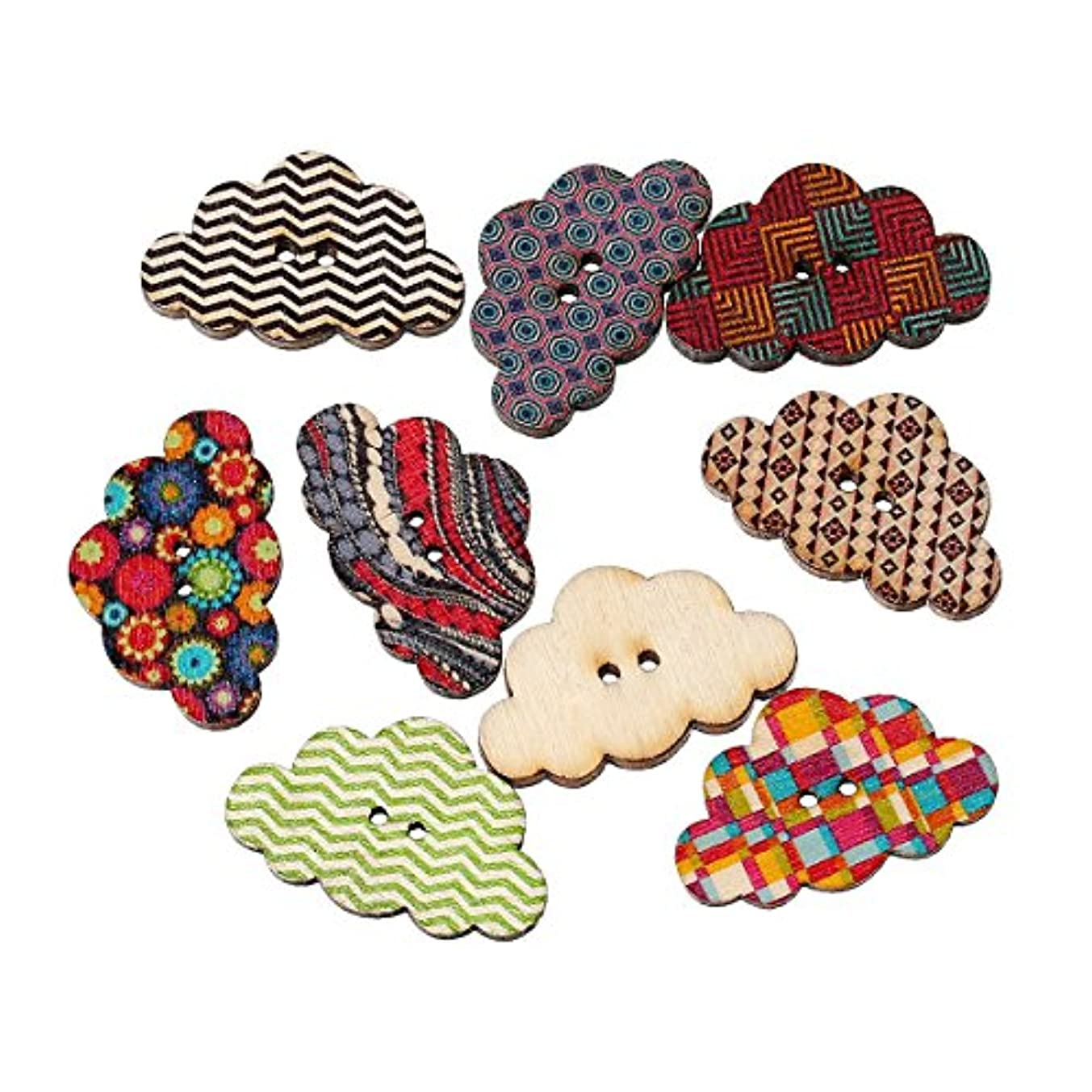 PEPPERLONELY Brand 50PC Mixed Color Cloud 2 Hole Scrapbooking Sewing Wood Buttons 30x19mm (1-1/6 Inchx1-3/4 Inch)