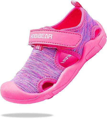 ChayChax Zapatos de Agua para Niños Sandalias con Punta Cerrada de Deportivo Secado Rápido Zapatillas de Playa Piscina Natación, Rosa, 24 EU