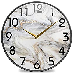 Naanle 3D Marble Stone Print Round Wall Clock, 9.5 Inch Silent Battery Operated Quartz Analog Quiet Desk Clock for Home,Office,School