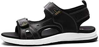 Shoes Comfortable Sandals for Men and Wonmen Outdoor Water Shoes Slip On Style OX Leather Hook&Loop Strap Pure Colors Fashion (Color : Black, Size : 8.5 UK)