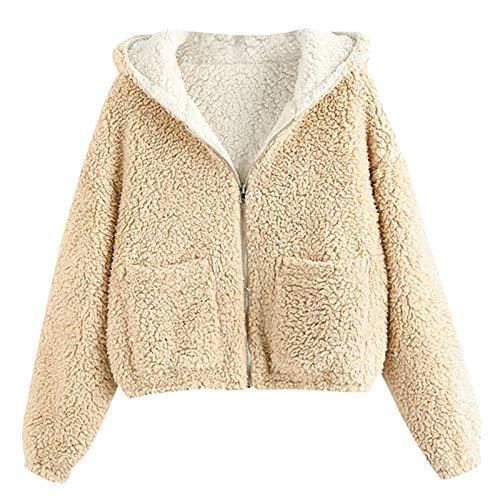 CHMORA - Sudadera para mujer, en ambos lados, color sólido, cálido, de felpa, ambos lados llevan chaqueta de otoño/invierno para mujer