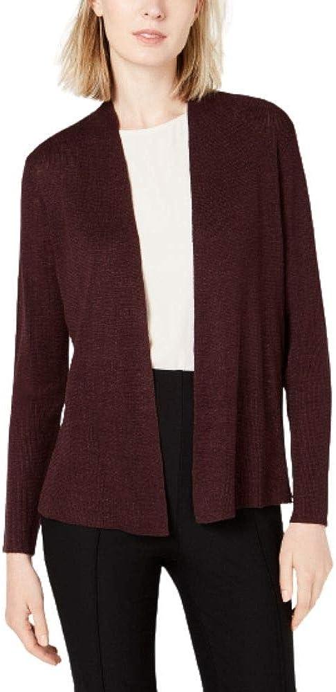 Eileen Fisher Womens Open-Front Long-Sleeve Shaped Organic Linen Cardigan Cassis XL