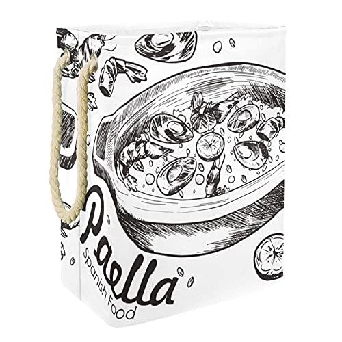 EZIOLY Cesta de lavandería Paella, comida española, comida marina, plegable, con asas, soportes desmontables, resistente al agua, para ropa, juguetes, organización en la sala de lavandería, dormitorio