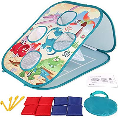 Yuham Outside Toys for Kids Ages 4-8, Bean Bag Toss Indoor Outdoor Games for Kids Cornhole Sets, Outdoor Toys for Toddlers Age 2-4 3-5 4-8 6-12, 8-Beanbags. Best Gifts for Boys Girls and Family from Yuham