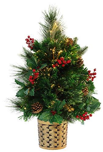 Christmas Concepts® 2ft (60cm) Vert Fibre Optique Pine Arbre de Noël monté sur Le Mur avec cônes et Baies Rouges