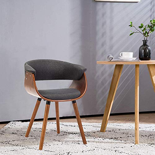 Mingone Armlehnen Retro Esszimmerstühle Stoff und Massivholz Beine Küchenstühle Büro Computer Stühle(Grau)