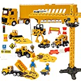 UNIH Construction Site Vehicle Toy Set for Boys 3 4 5 Years Old, Kids Engineering Playset with 6 Construction Cars, Truck Toy Set with Lights and Sounds Gift for Boys Girls
