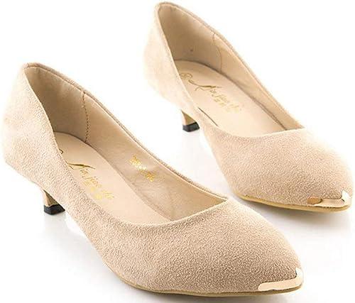 Fuxitoggo Femme à Fine avec la marée des Chaussures (Couleuré   Albicocche, Taille   39)