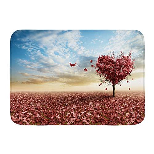 VAMIX Badematten 3D Ahorn Bäume Red Maple Leaf Tagesdecke Print Blue Sky,45x75cm Badematte rutschfest Waschbar Badezimmer Teppich Weiche Hochflor Badvorleger aus