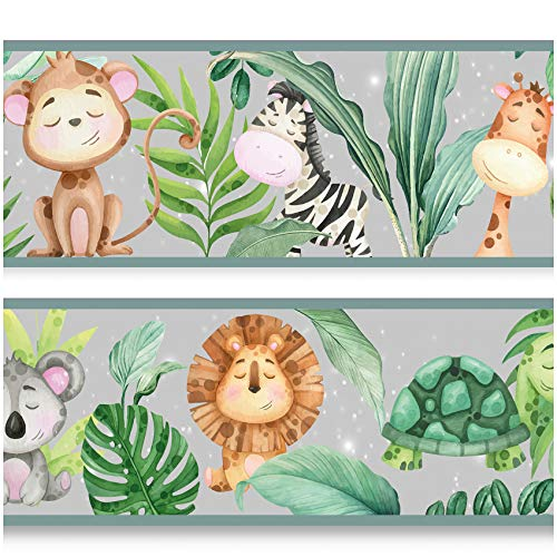 yabaduu Bordüre 15cmx200cm Kinderzimmer Babyzimmer Dekor Aufkleber Wandbordüre selbstklebend Wandtattoo Kinder Mädchen Junge Y033-9 (Dschungel)