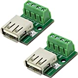 flashtree 2pcs USB Type A Female Socket Breakout Board with 3.81mm Pitch Terminal Adapter Connector DIP for DIY USB Power Supply/breadboard Design