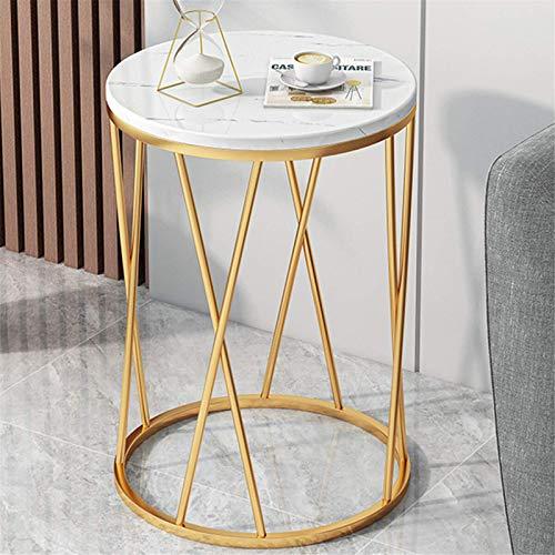 FFSM Mesa auxiliar pequeña para el hogar, sala de estar, moderna, minimalista, mesita de noche, sencilla y creativa, mesa redonda pequeña de cocina (tamaño: 40 x 40 x 57 cm; color: blanco)
