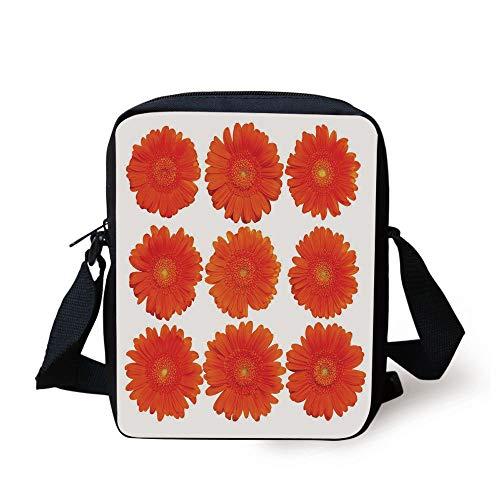 Orange,Collection of Orange Gerberas Botanical Bouquet Seasonal Growth Garden Spring Theme Decorative,Orange Print Kids Crossbody Messenger Bag Purse