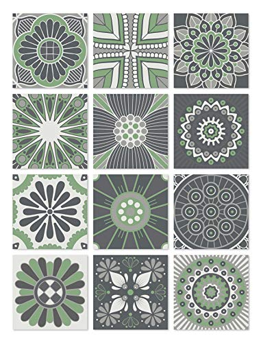 Panorama Azulejos Adhesivos Cocina Baño Pack de 24 Baldosas de 20x20cm Hidráulico Verde - Vinilos Cocina Azulejos - Revestimiento de Paredes - Cenefas Azulejos Adhesivas