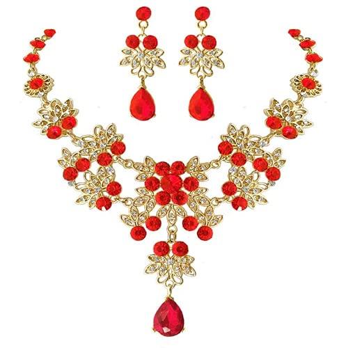 XIGAWAY Pendientes de cristal rojo nupcial de la gota de la onda floral de la lágrima de los