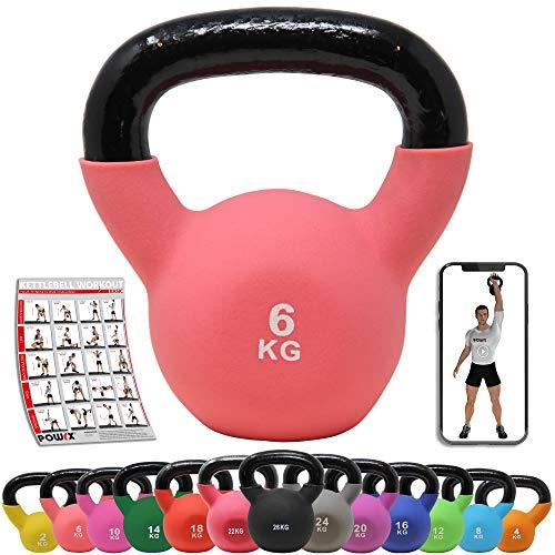POWRX Kettlebell Hierro Fundido 6 kg - Pesa Rusa con Revestimiento de Neopreno + PDF Workout (Pink)