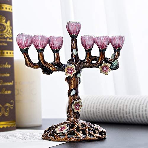 HUANGRONG 7 AST Menorah Baum der Blumen Antik Chanukka Sammler Kerzenleuchter Geschenk