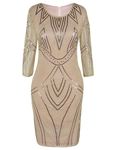 PrettyGuide Damen 1920s Kleid Perlen Verschönert Cocktail Flapper Kleid Mit Ärmel S Champagner