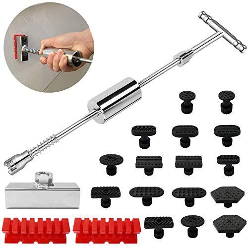Dellen Reparatur Ausbeulwerkzeug Set -Lackfreies Dellen Reparaturset Dent Puller Kit Gleithammer Dent Abzieher mit 16 Stück Klebel Metalloberflächen-Dellen