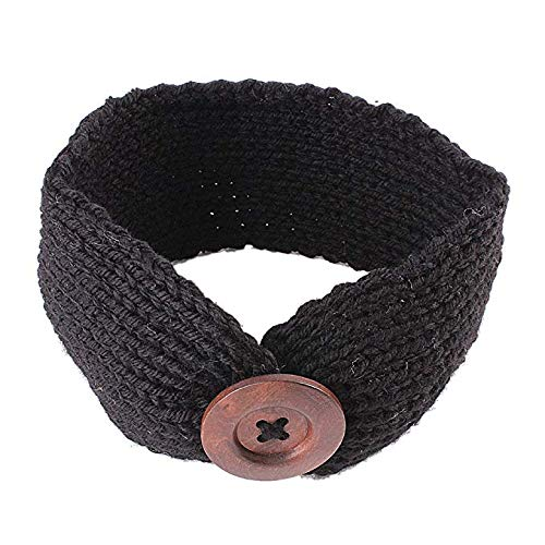 El Regalo's Baby Woolen Knitting Infant Button Headbands Turban Head Wrap Knotted Hair Band for Girls & Boys (Black)
