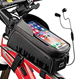 """Bicycle Bag, Front Top Tube Bike Bag with Rain Cover, Touch Screen Bike Phone Bag Waterproof Bike Pouch Bike Frame Bag Phone Mount Holder Mountain Cycling Accessories for iPhone 12 11 XS XR 8 Fit 6.5"""""""