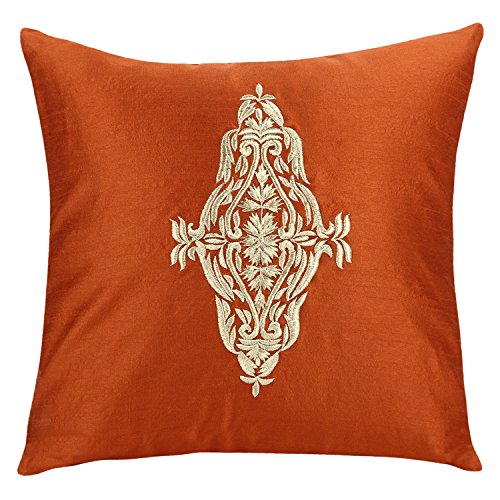 The White Petals Damask Throw Pillow Cover - Rust Gold Decorative Pillow Cover - Embroidered Accent Pillows for Couch & Bed (Rust, 16x16 inches)