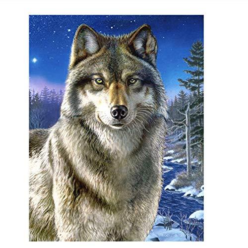 "SXINYF 5D DIY""Lobo Animal""Kit de Pintura de Diamante Redondo Completo Bordado de Diamantes Kit de Punto de Cruz decoración de Pared Lienzo producción de Mosaico Sin marco-40x50cm"