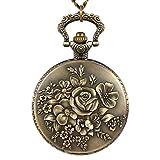 NICERIO Reloj de Bolsillo Antiguo Vintage con Cadena Reloj Collar con Colgante Flor