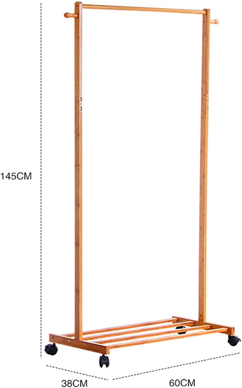Standing Coat Racks Rolling Coat Rack Bamboo Garment Rack Coat Clothes Hanging Rail 1 Tiers 4 Hooks for shoes and Hat Rack (60cm, 70cm, 80cm ) x 38 x 145 cm Optional (Size   60  38  145cm)