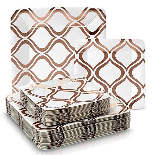 Silver Spoons Vajilla para Fiestas Desechable de 36 Piezas | 18 Platos Grandes | 18 Platos para Ensalada/Postre |Para Bodas Y Comidas de Lujo | Cuadrados de Color Rosado Metalizado - Moroccan