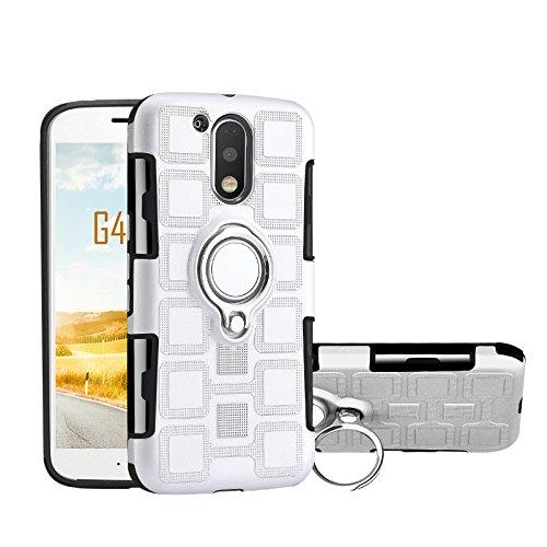 Armor - Funda de protección 2 en 1 con soporte giratorio para el dedo con soporte, soporte magnético para coche compatible con Motorola Moto G4 / G4 Plus (color: plata)