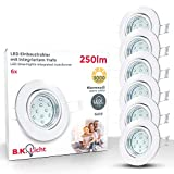Faretti LED ad incasso orientabili, set da 6, include 6 lampadine GU10 da 3W, foro incasso...