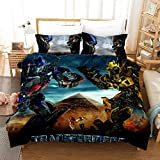 ZI TENG 3D Marvel Transformers Duvet Cover Set Transformers Epic Poster Latest Movie Bedding Set 100% Polyester Kids Teenagers Adult Boys Bed Set,3pcs 1 Duvet Cover 2 Pillowcase Twin Full Queen King