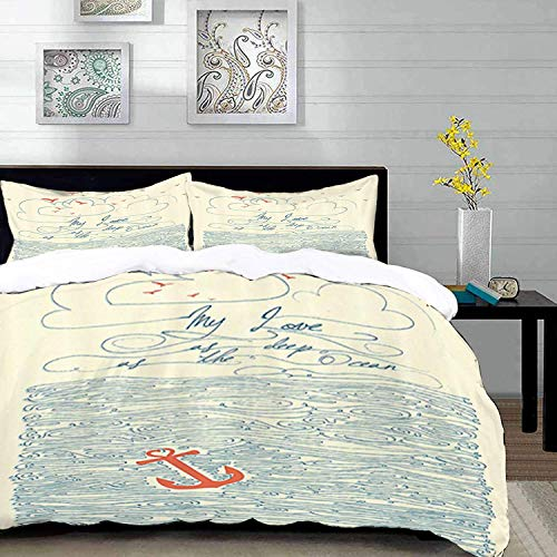 ropa de cama - Juego de funda nórdica, cotizaciones, Mi amor tan profundo como el océano Waves Ancla náutica Home Art Prints Love Quotes Crema Nav, Funda nórdica de microfibra con 2 fundas de almohada